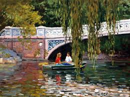 under the bow bridge central park painting by roelof rossouw