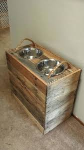 dog bowl riser diy large reclaimed food stand with storage inside