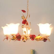 Glas Kronleuchter Led Kinderzimmer Suspension Kronleuchter 110 220v Rot Glanz Led Schmiedeeisen Harz Licht Luminaria