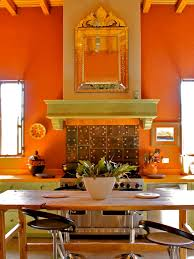 Best Orange Kitchen Wall And Mirror With Wooden Countertop