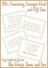 such fun and creative 8th anniversary gift ideas love incorporating traditional anniversary gifts like bronze linen and lace into a fun scavenger hunt