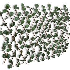 Expandable Willow <b>Trellis Fence 5 pcs</b> with Artificial Leaves ...