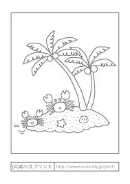 カニとヤシの木主線グレー海夏の季節行事大人の塗り絵ぬりえ