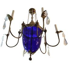 vintage cobalt blue glass and brass chandelier for