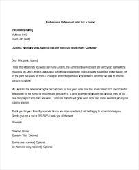 Professional Reference Letter For a Friend