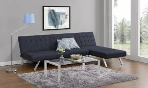 dhp futon sofa bed in blue with chrome legs nonagon style