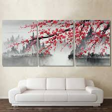<b>Laeacco 3 Panel</b> Chinese Style Canvas Painting Modern Home ...