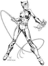 Female Superhero Coloring Pages Catwoman Traditional Inks On Behance Enjoy And Relieve Stress