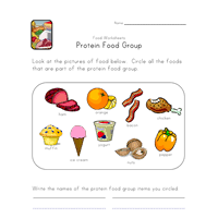 Small Picture Protein Food Group Worksheet All Kids Network