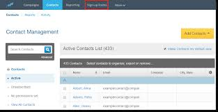 constant contact signup form landing page links and buttons