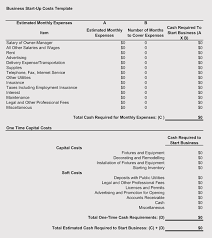 5 Business Start Up Costs Plan Worksheet Templates Excel