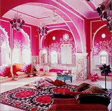 Brit fashion designer, Liza Bruce, exotic holiday home in Jaipur,  Rajasthan's famous 'pink' capital city. Pink India Dream room- love the  wall henna and the ...