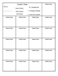 Readers Writers Math Workshop Conferring Template By Funalicious