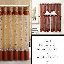 shower curtain and window valance set inspirational cinnamon shower curtain and 3pc window curtain set