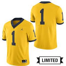 1 Football University Jordan Maize Jersey Limited Michigan Alternate Of