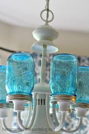 mason jar lighting diy. exellent diy blue mason jar chandelier  detail installed for lighting diy