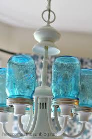 blue mason jar chandelier detail installed