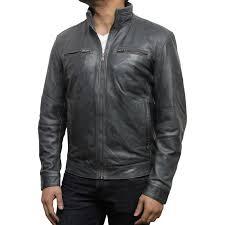 men s grey leather biker jacket chicago loading zoom