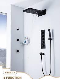 Großhandel Thermostatische Schwarze Regenduschsysteme Unterputz Duschkopf Massage Wasserfall Wasserhähne 2 Zoll Körper Spraydüsen Für Badezimmer