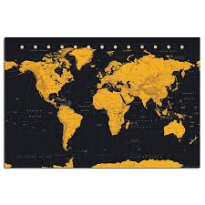 World Map Posters World Map In Black Gold Poster Iposters