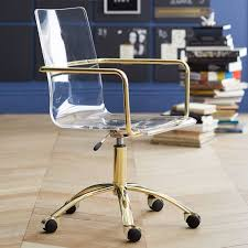 Image Ghost Pbteen Gold Paige Acrylic Swivel Chair Pbteen