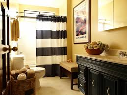 white bathroom features glossy striped