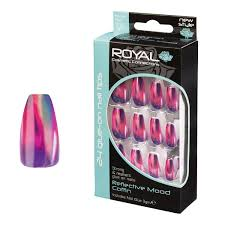 Royal Duhové Barevné Umělé Nalepovací Nehty Sada S Lepidlem Reflective Mood Coffin False Nails 24ks A Lepidlo