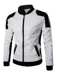 ventilate design color block faux leather jacket in white m ledeals com