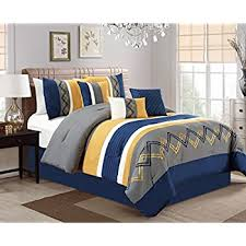 blue and yellow bedding. Perfect And Arden By Chezmoi Collection  7 Pieces Modern Pleated Stripe Embroidered  Zigzag Bedding Comforter Set  Inside Blue And Yellow Amazoncom