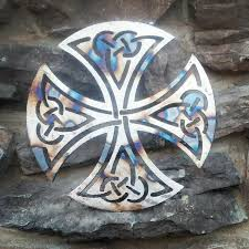 Upcycled Wall Art Metal Wall Art Living Room Decor Celtic Crosses Upcycled Scrap