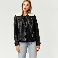 warehouse borg collar faux leather biker black jackets