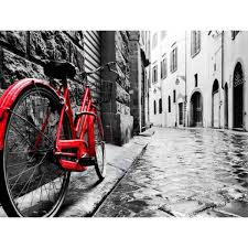 red bike tempered glass wall art