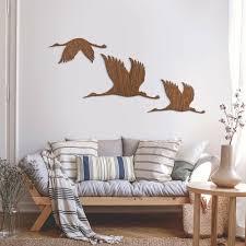 Holzkunst Mahagoni Kraniche Vogelschwarm 01 Wanddeko