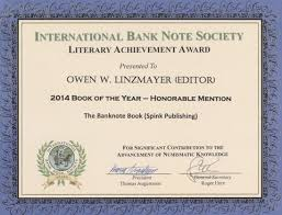 Honorable Mention Certificate The Banknote Book Awarded Ibns 2014 Book Of The Year