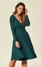Nicky Wrapped Green Party Dress With Long Sleeve By Collectif Clothing