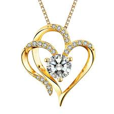 details about heart necklace 14k gold plated 5a cubic zirconia pendant necklaces for women