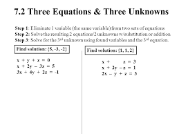 7 2 three equations unknowns 7 1 systems of linear equations 2 variables ppt