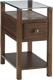 furniture leick chairside lamp table with drawer cherry drawers wedge end storage and shelf antique