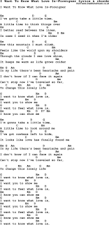 Love Song Lyrics For I Want To Know What Love Is Foreigner