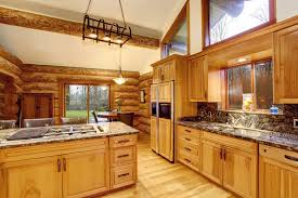 log cabin kitchen with granite countertops