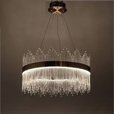 latest round post modern style brass glass crystal pendant lamp chandelier with led