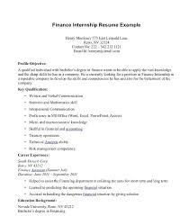Finance Internship Resume Sample Finance Internship Resume Financial