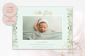 Template For Birth Announcement Psd Birth Announcement Card Template