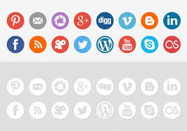 round social media icon. Unique Round Round Social Media Icon Vector Pack In D