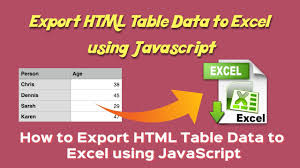 1 export html table data to excel using