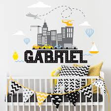 transportation scene and custom name wall decal