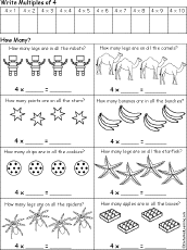 Early Multiplication Printouts - EnchantedLearning.comEarly Multiplication: Count by 4s