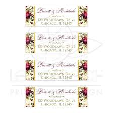 Wedding Address Labels Beautiful Burgundy Watercolor Flowers