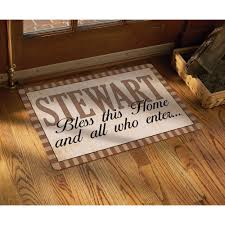 personalized front door matsPersonalized Rustic Bless All Who Enter Doormat 17 x 27