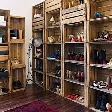 wood crate furniture diy. display your shoes in a stacked crate shelving unit wood furniture diy